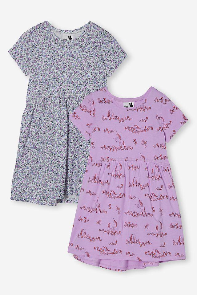 Girls Multipack Short Sleeve Dresses 2 Pack, VIOLET UNICORN PACK