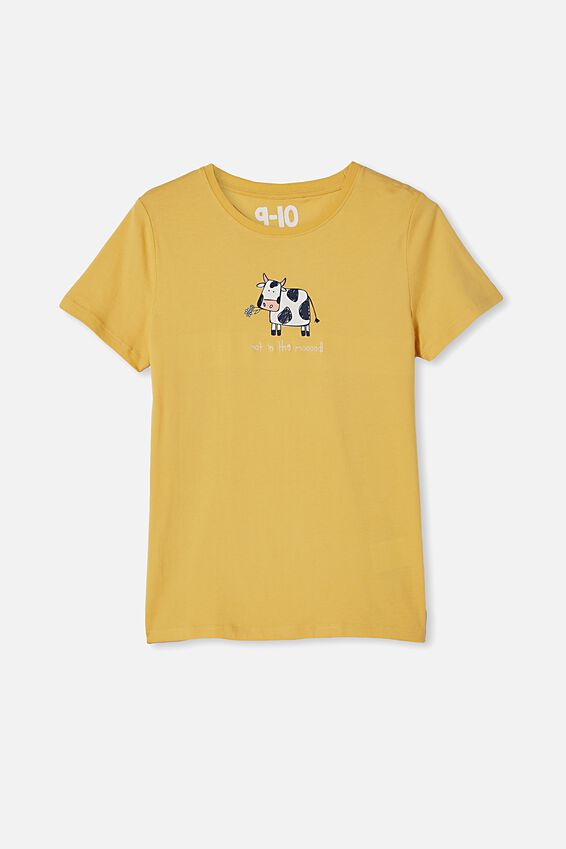 Penelope Short Sleeve Tee, DAFFODIL/NOT IN THE MOOD