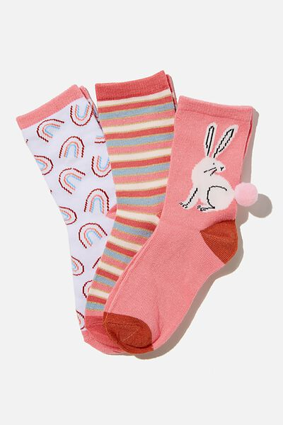 Kids 3Pk Crew Socks, VERY BERRY BUNNY