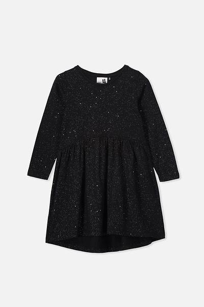 Freya Long Sleeve Dress, BLACK/HOLOGRAPHIC SPECKLE