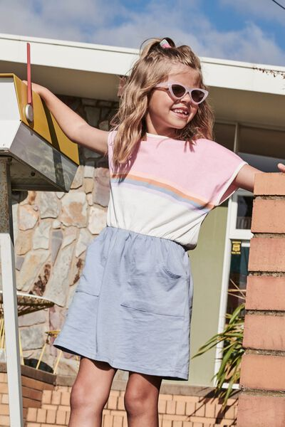 Sigrid Short Sleeve Dress, CALI PINK/DUSTY BLUE SPLICE