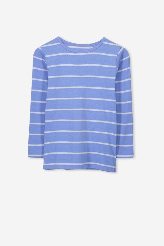 Jessie Crew Long Sleeve Tee, CORNFLOWER BLUE/HEATHER BLUE