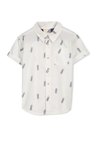 Jackson S/Slv Shirt, WHITE/PINEAPPLES