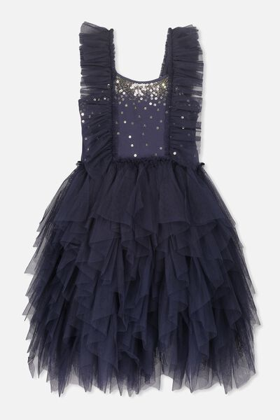Iris Tulle Dress, INK/RUFFLES