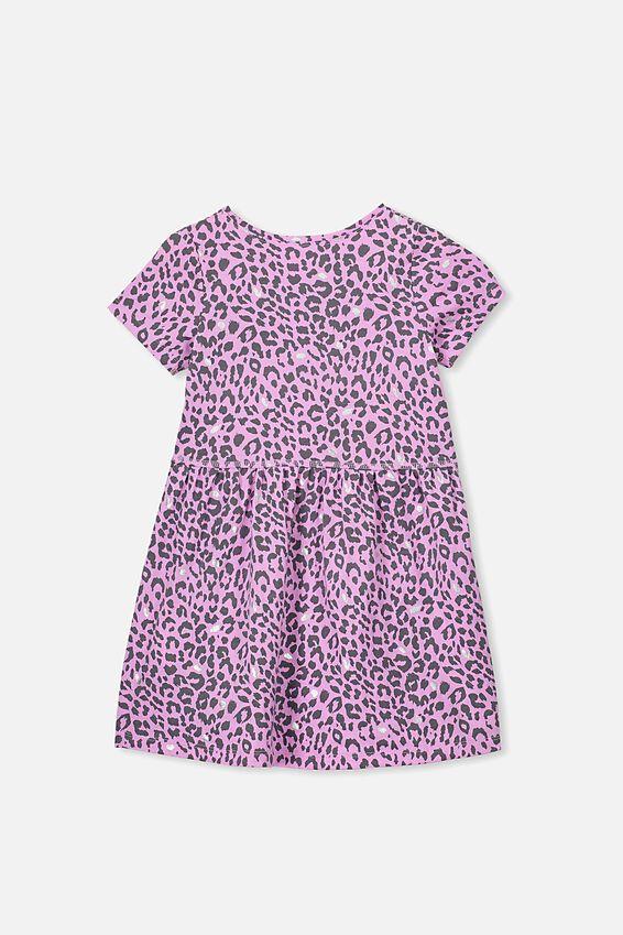 Freya Short Sleeve Dress, PURPLE PARADISE/LEOPARD
