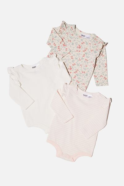 3 Pack Long Sleeve Ruffle Bubbysuit, MAUDE FLORAL/VANILLA/CRYSTAL PINK STRIPE