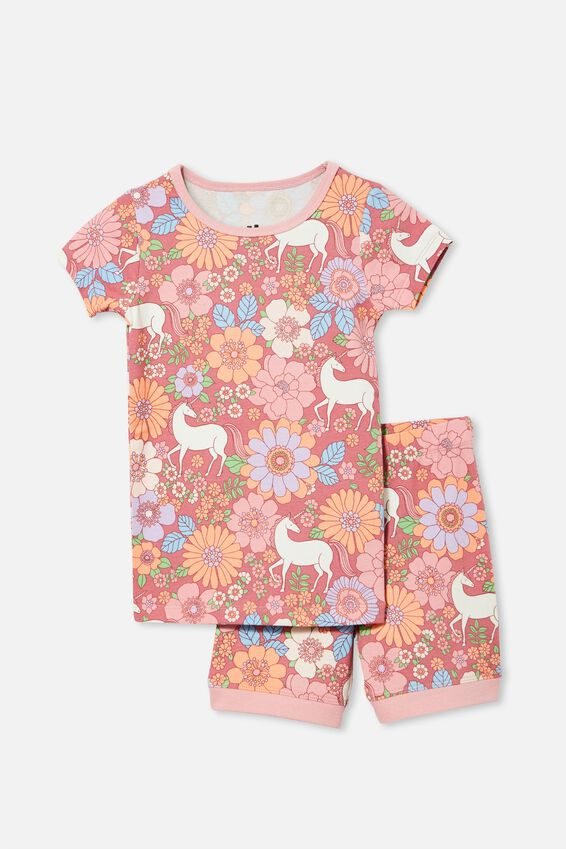 Nikki Short Sleeve Pyjama Set, UNICORN GARDEN/VERY BERRY