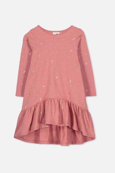 Joss Long Sleeve Dress, RUSTY BLUSH/UNICORN SPOT
