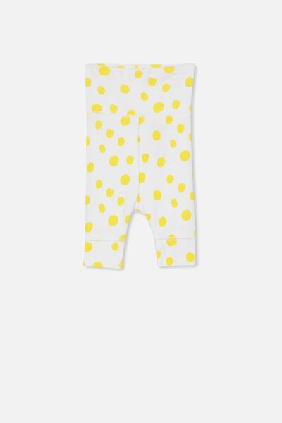 Newborn Essentials Legging, WHITE/SUNSET GOLD SPOT