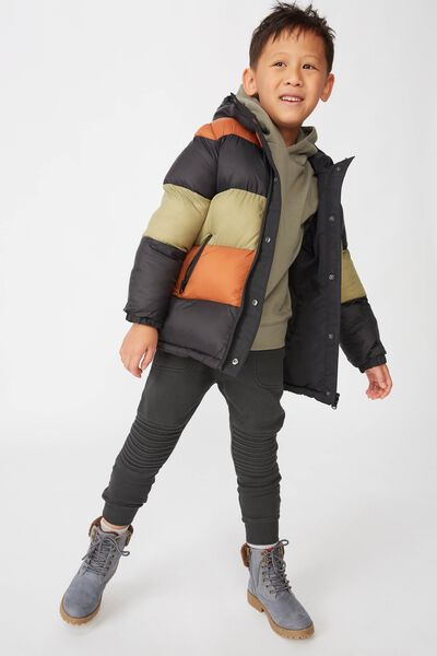 Anorak Reversible Puffer, BLACK/AMBER BROWN/GUMLEAF