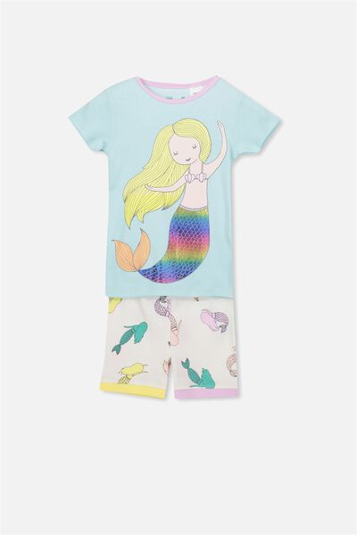 Chloe Girls Short Sleeve PJ Set, MERMAID TALES