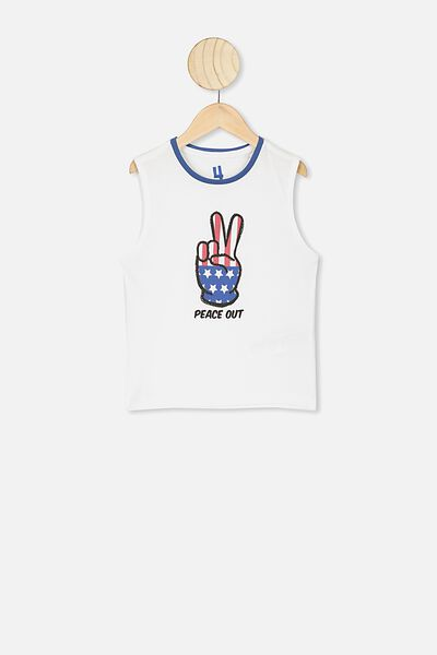 Otis Muscle Tank, WHITE/PEACE OUT