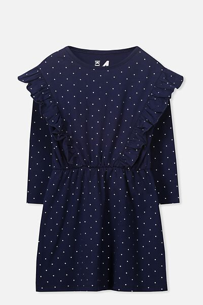 Amy Long Sleeve Dress, PEACOAT/SILVER DOT