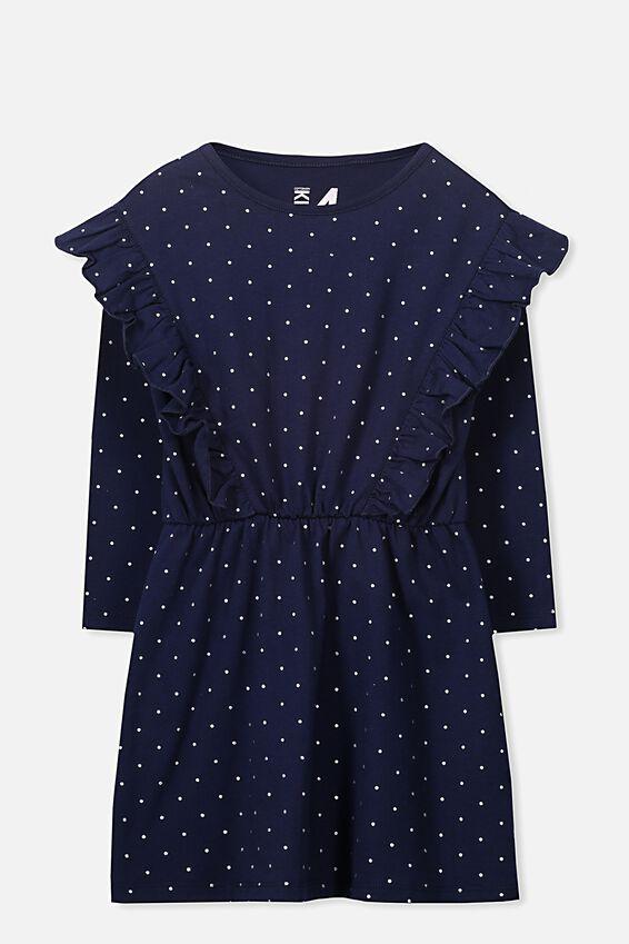 Amy Long Sleeve Dress, PEACOAT/SILVER DOT