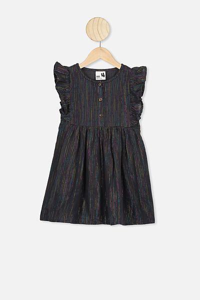 Goldie Sleeveless Dress, PHANTOM/RAINBOW SPARKLE STRIPE