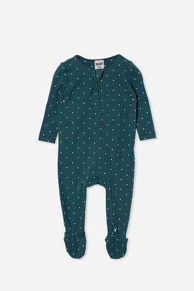 The Snug Long Sleeve Zip Romper, PETROL TEAL/DUCK EGG BETTY SPOT