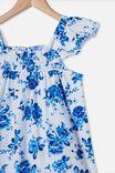 Allie Flutter Sleeve Dress, WHITE/BLUE TRADITIONAL FLORAL