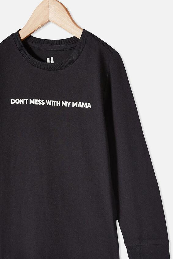 Tom Long Sleeve Tee, PHANTOM/ DON'T MESS WITH MY MAMA