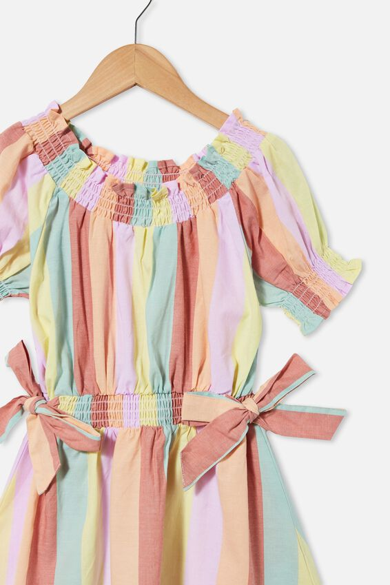 Samira Short Sleeve Dress, RAINBOW STRIPE