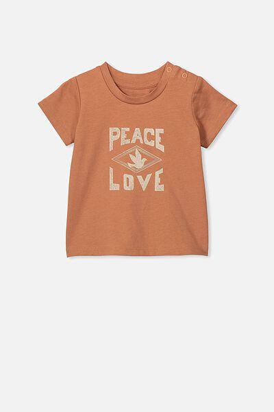Jamie Short Sleeve Tee, AMBER BROWN/PEACE LOVE