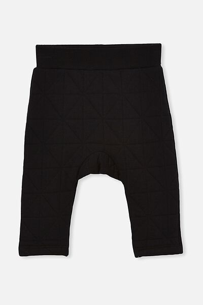 Emerson Quilted Trackpant, BLACK