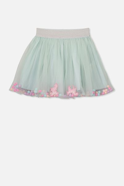 Trixiebelle Tulle Skirt, MINTY BLUE/UNICORN CONFETTI