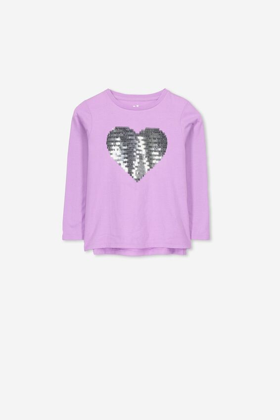 Stevie Ls Embellished Tee, SWEET LILAC/SEQUIN HEART