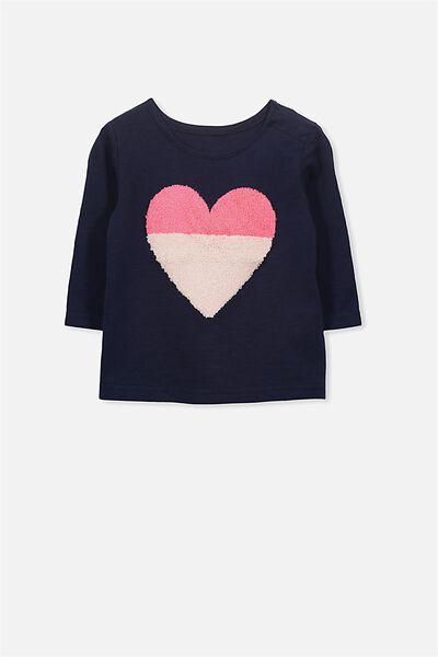 Ginger Ls Tee, PEACOAT/HEART