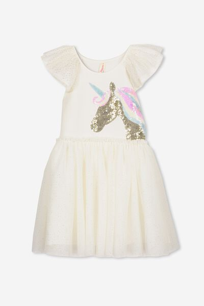 Iris Tulle Dress, CREAM/UNICORN + SPARKLE