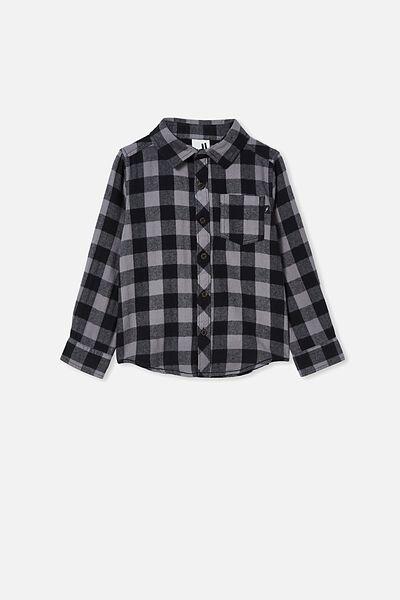 Rugged Long Sleeve Shirt, GREY/BLACK BUFFALO CHECK