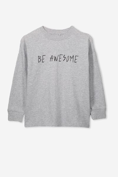 Tom Loose Fit Tee, LIGHT GREY MARLE/BE AWESOME