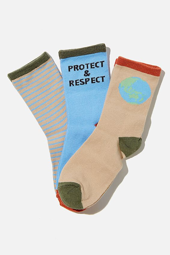 Kids 3Pk Crew Socks, PROTECT AND RESPECT