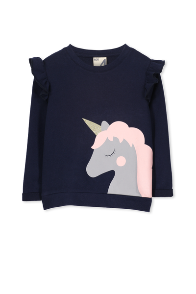 Sage Ruffle Crew Fleece, PEACOAT/UNICORN AND CUPCAKES
