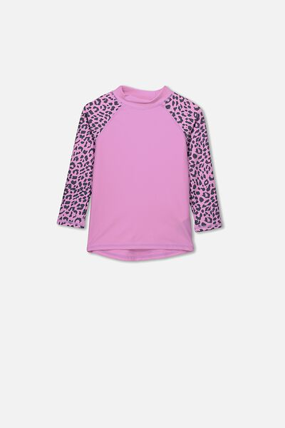 Hamilton Long Sleeve Rash Vest, PURPLE PARADISE/LEOPARD