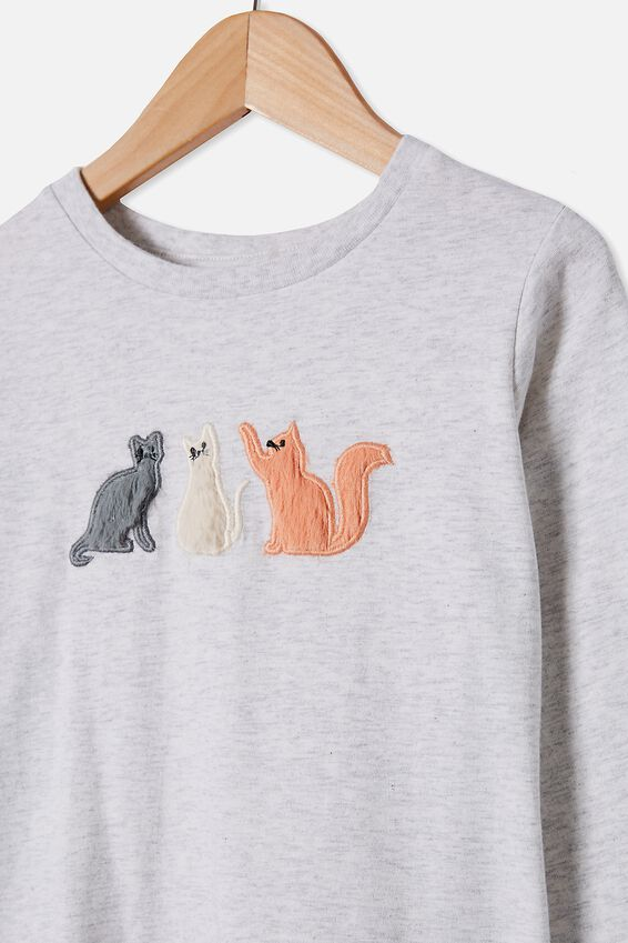 Stevie Long Sleeve Embellished Tee, SUMMER GREY MARLE/THREE CATS