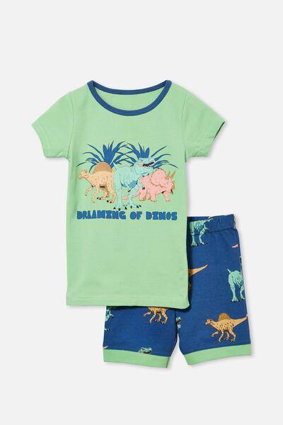 Ted Short Sleeve Pyjama Set, DREAMING DINOSAUR/ SPEARMINT
