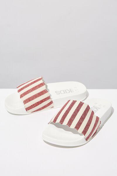 Scallop Slide, RUST WHITE STRIPE