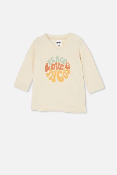 Jamie Long Sleeve Tee, DARK VANILLA/PEACE LOVE TACOS