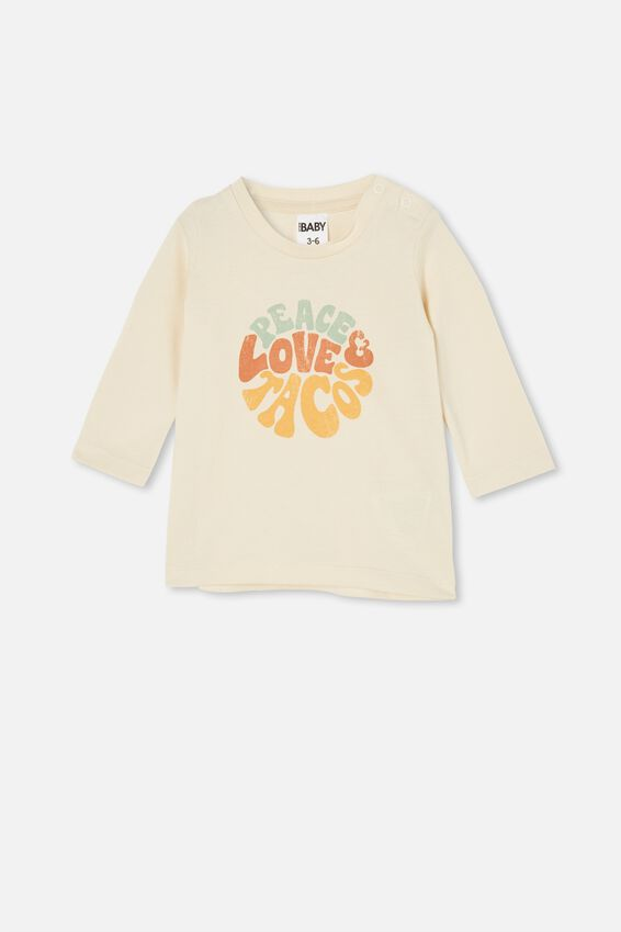 Jamie Long Sleeve Tee, DARK VANILLA/PEACE LOVE TACOS