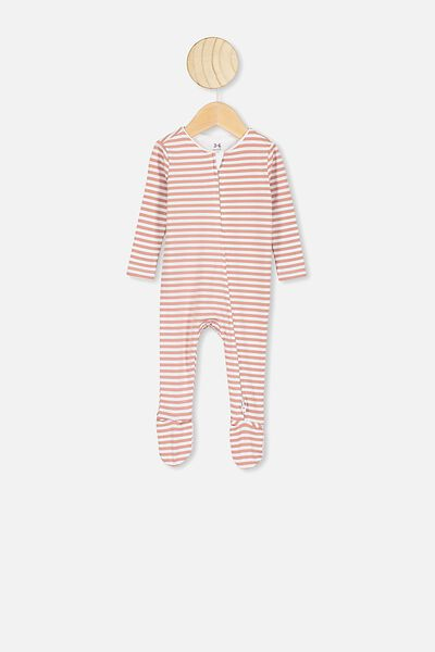The Snug Long Sleeve Zip Romper, CHRIS STRIPE WHITE/CLAY PIGEON