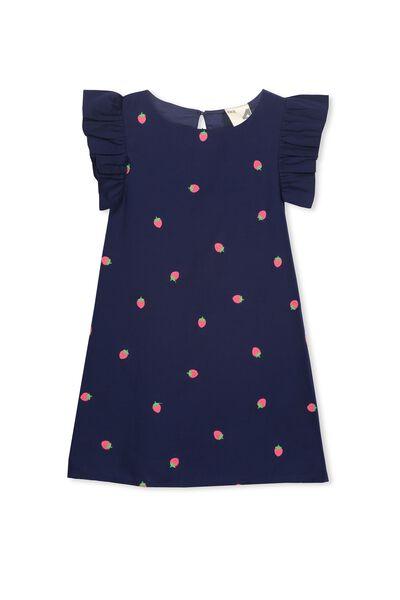Tempe Dress, PEACOAT/STRAWBERRY EMB