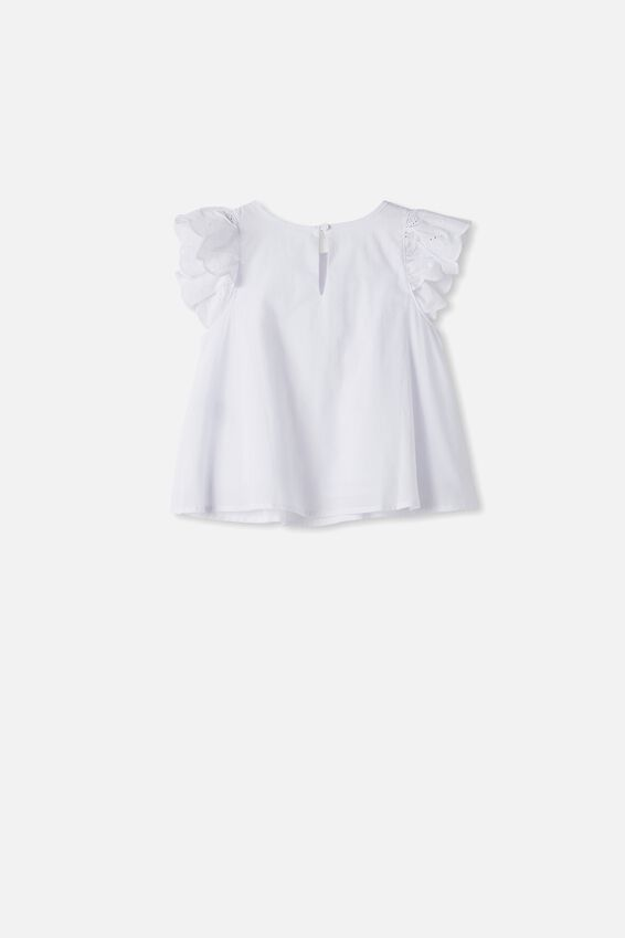 Charlotte Broderies Ss Top, WHITE