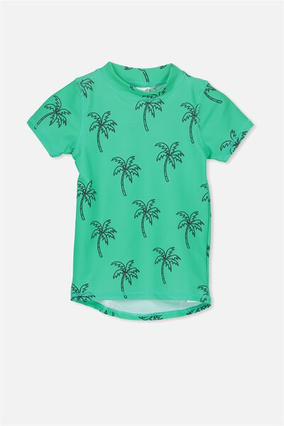 Finley Short Sleeve Rash Vest, ECO GREEN/PALM TREES