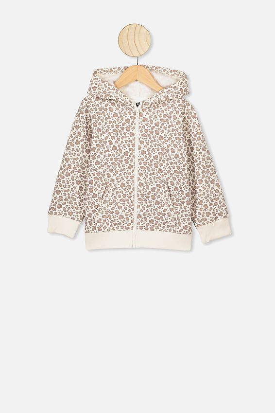 Sunny Zip Through Hoodie, DARK VANILLA/SNOW LEOPARD