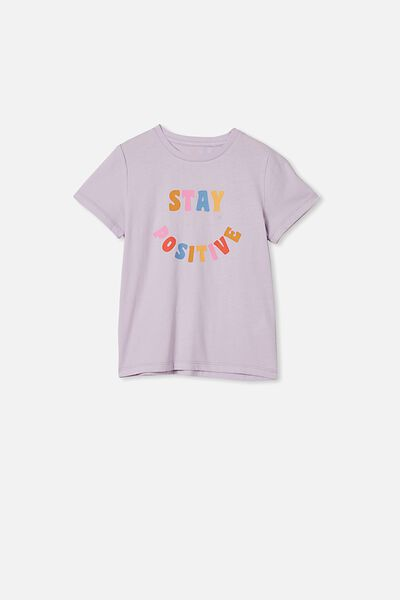 Penelope Short Sleeve Tee, VINTAGE LILAC/STAY POSITIVE