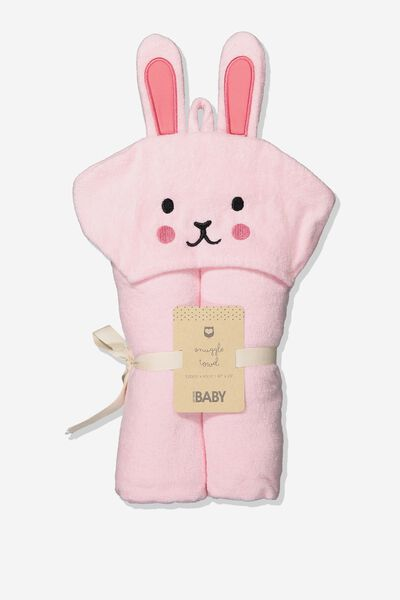 Baby Snuggle Towel, PINK BUNNY RABBIT