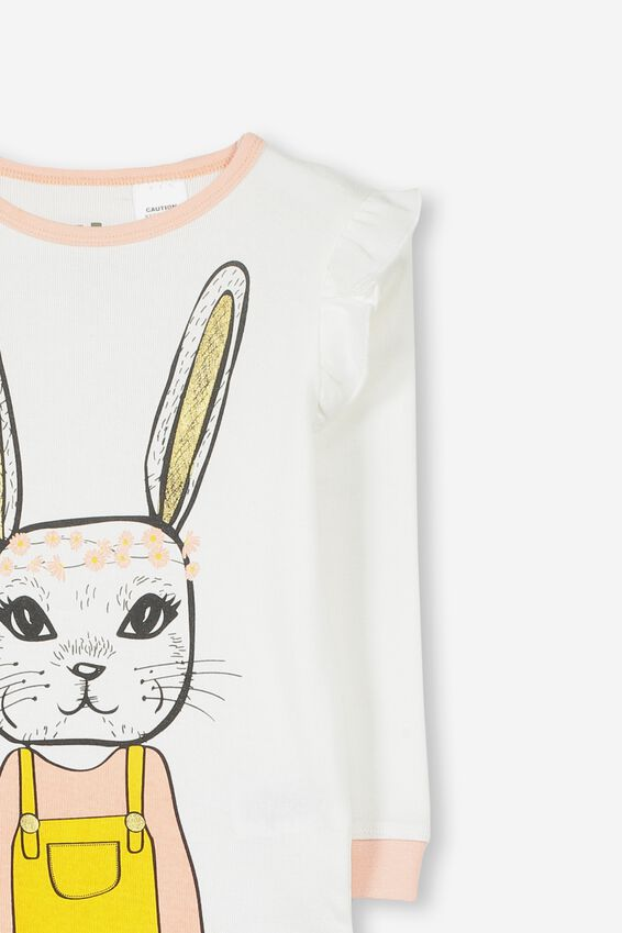 Personalised Bunny Girls Long Sleeve Pyjama Set, DAISY BUNNY PERSONALISED