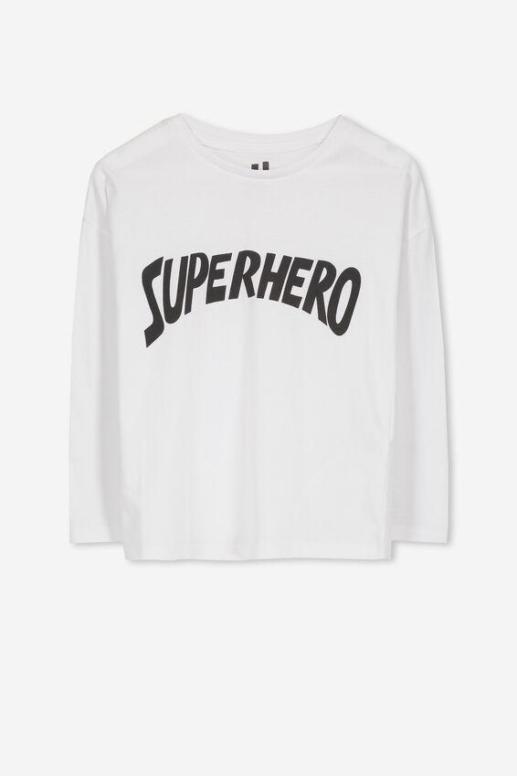 Penelope Long Sleeve Tee, WHITE/SUPERHERO/DROP