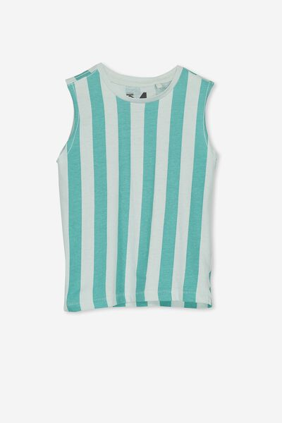 Orson Tank, COOL BLUE/WASHED JADE STRIPE MUSCLE
