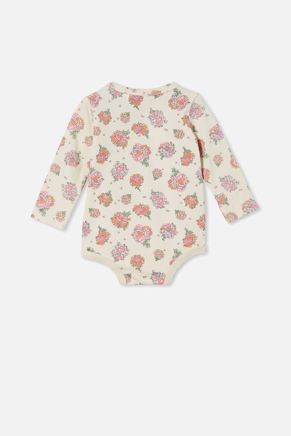 The Long Sleeve Bubbysuit, DARK VANILLA/RETRO CORAL PETUNIA FLORAL